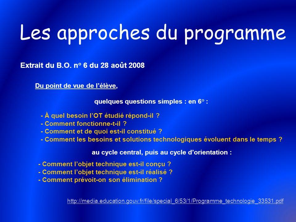 Les approches du programme