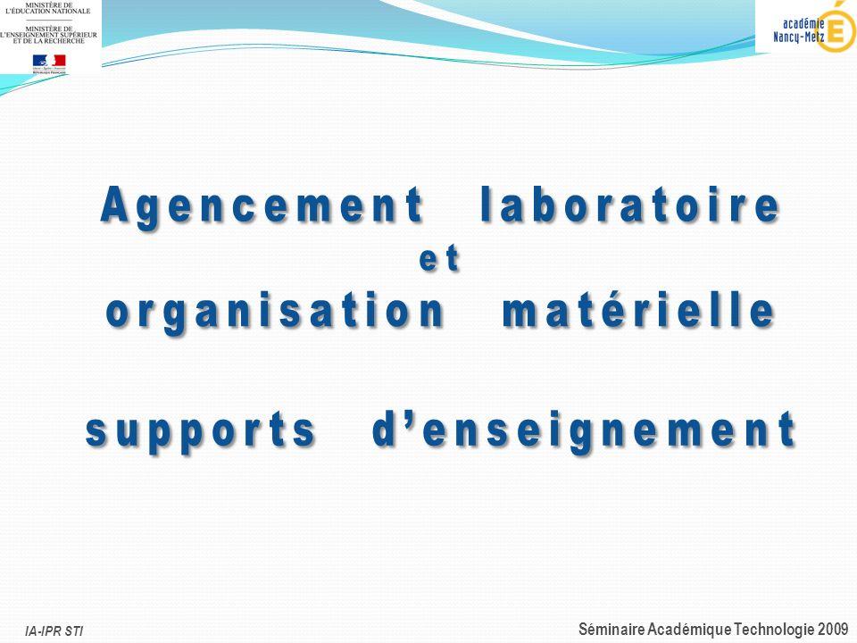 Agencement laboratoire organisation matérielle supports d'enseignement