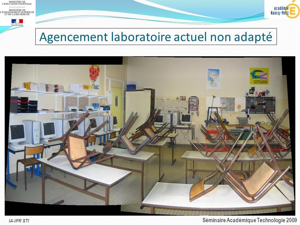 Agencement laboratoire actuel non adapté