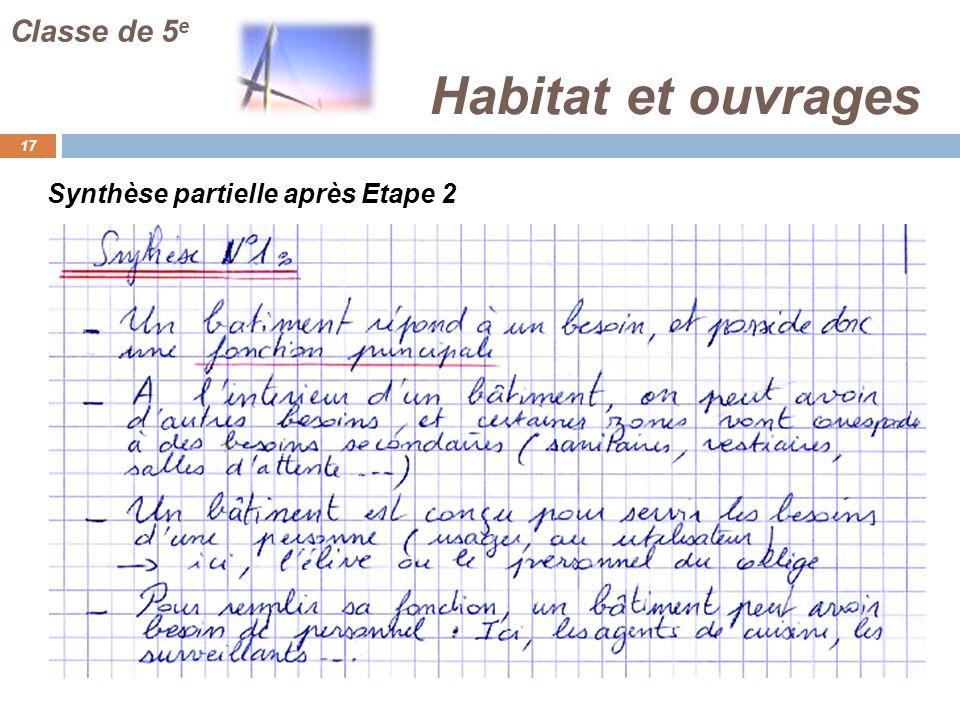 Classe de 5e Habitat et ouvrages Synthèse partielle après Etape 2 CD