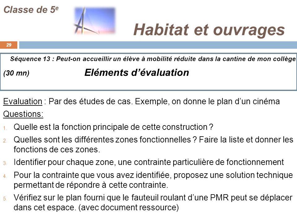 Habitat et ouvrages Eléments d'évaluation Classe de 5e