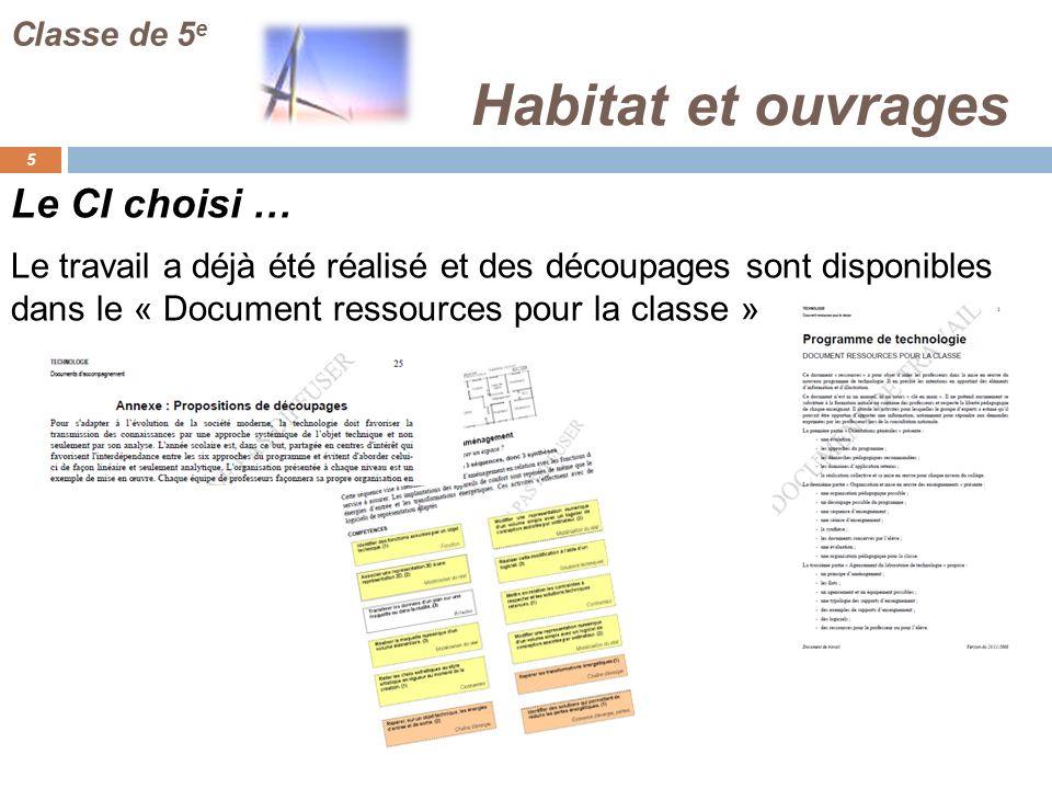 Habitat et ouvrages Le CI choisi …