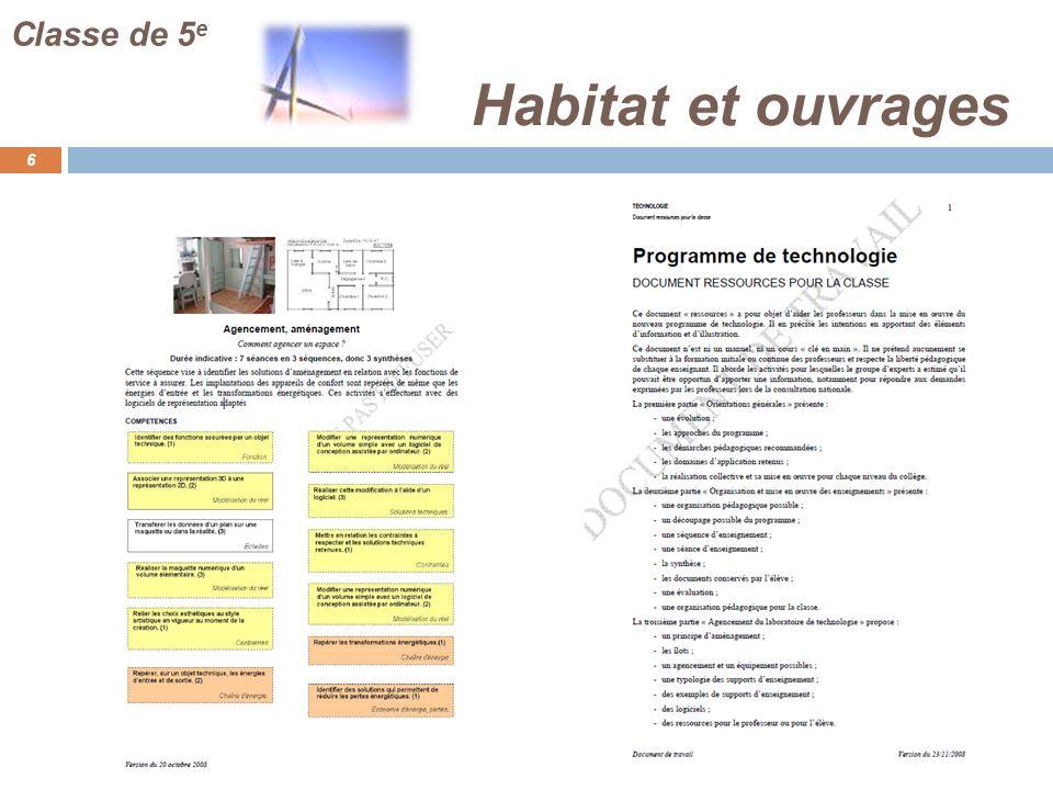 Classe de 5e Habitat et ouvrages FJ : en téléchargement …