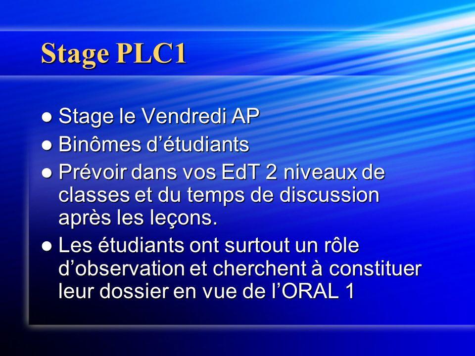 Stage PLC1 Stage le Vendredi AP Binômes d'étudiants