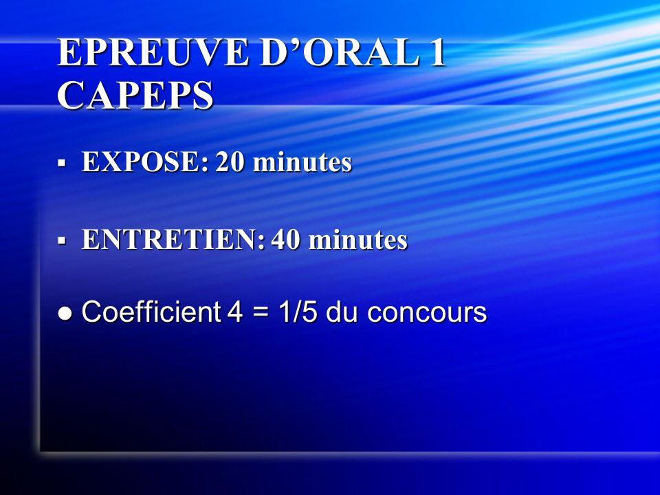 EPREUVE D'ORAL 1 CAPEPS EXPOSE: 20 minutes ENTRETIEN: 40 minutes