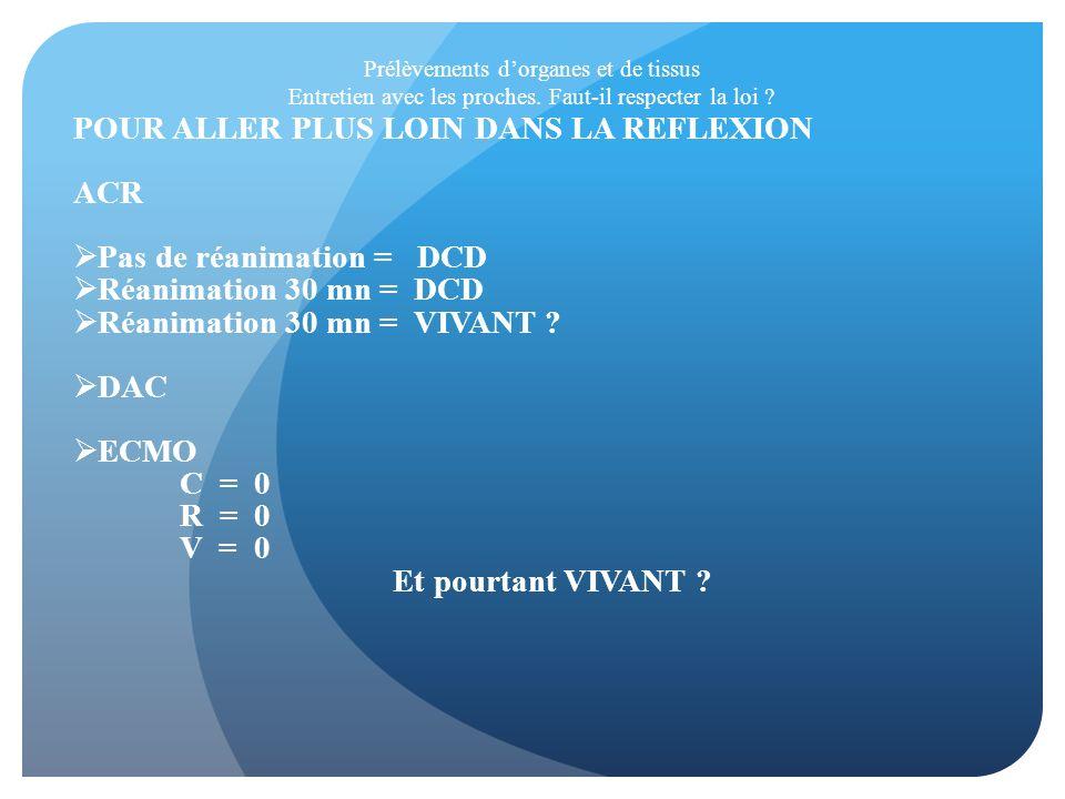 POUR ALLER PLUS LOIN DANS LA REFLEXION ACR Pas de réanimation = DCD