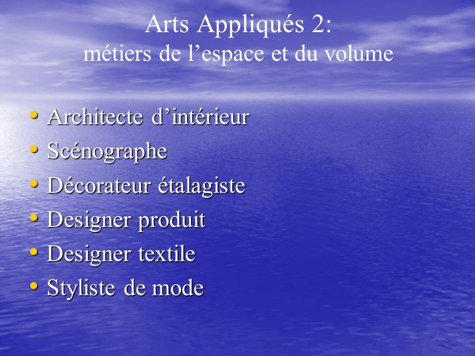 Arts Appliqués 2: métiers de l'espace et du volume