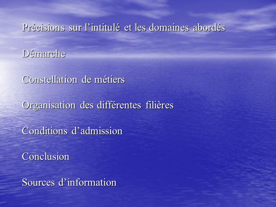 Précisions sur l'intitulé et les domaines abordés Démarche Constellation de métiers Organisation des différentes filières Conditions d'admission Conclusion Sources d'information