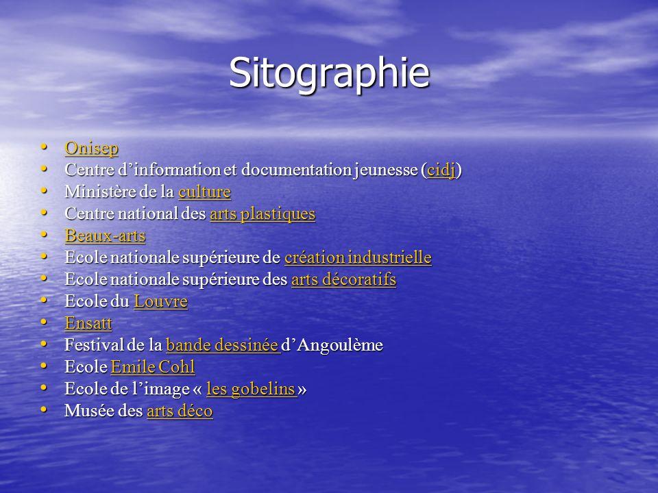 Sitographie Onisep. Centre d'information et documentation jeunesse (cidj) Ministère de la culture.