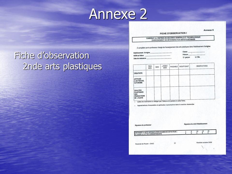 Annexe 2 Fiche d'observation 2nde arts plastiques