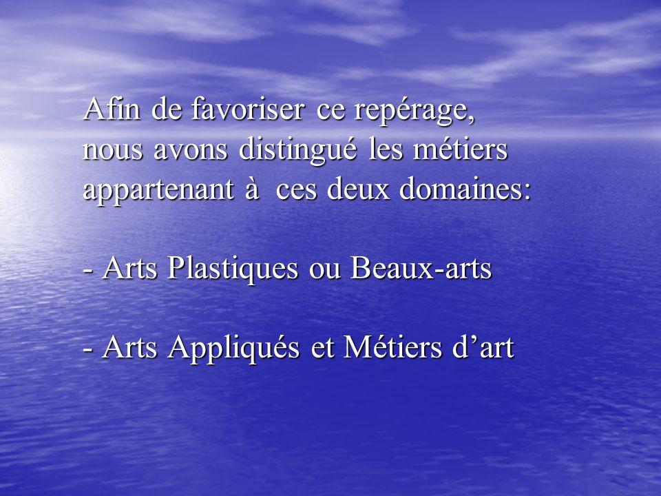 Afin de favoriser ce repérage, nous avons distingué les métiers appartenant à ces deux domaines: - Arts Plastiques ou Beaux-arts - Arts Appliqués et Métiers d'art