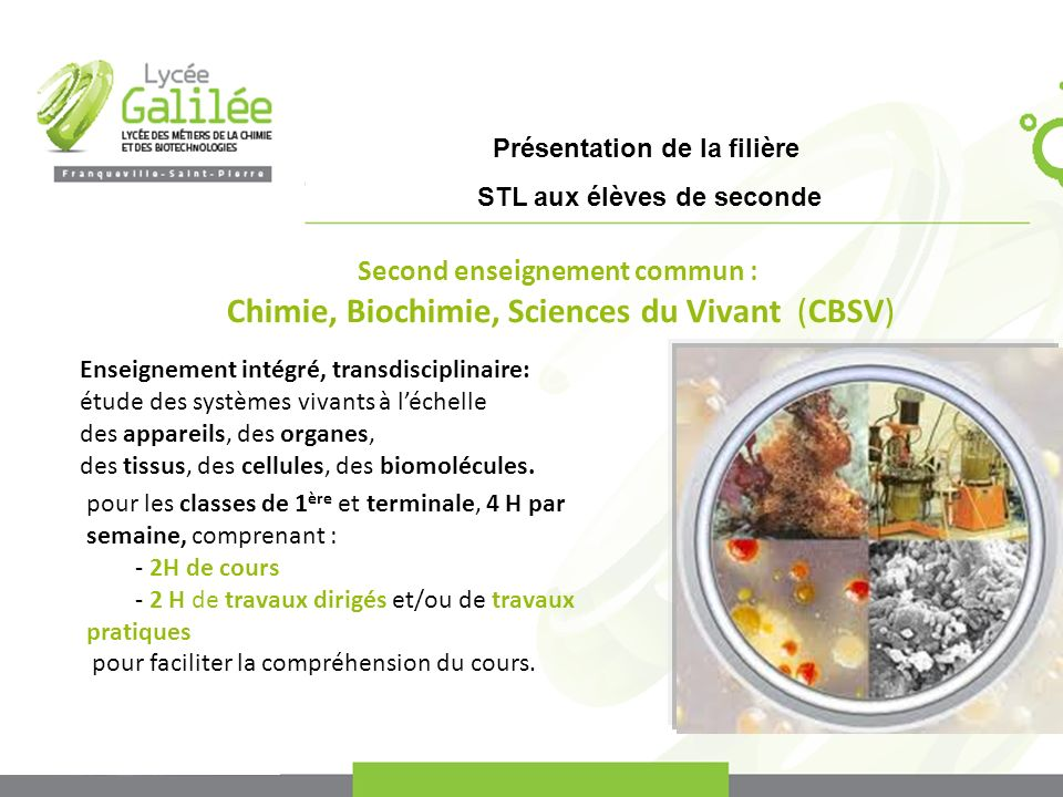 Second enseignement commun :
