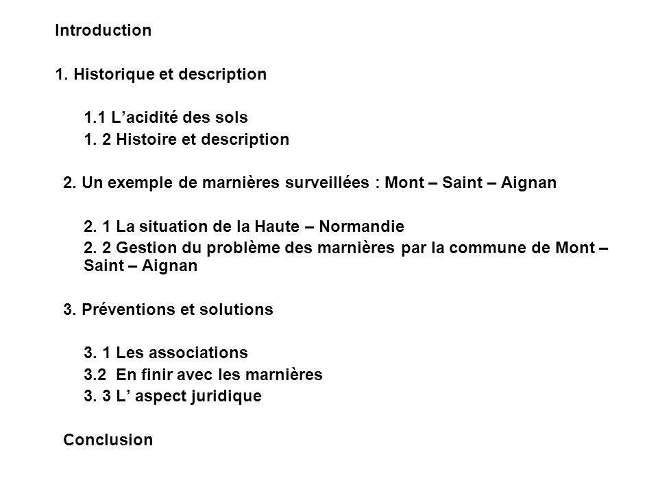 Introduction 1. Historique et description. 1.1 L'acidité des sols. 1. 2 Histoire et description.