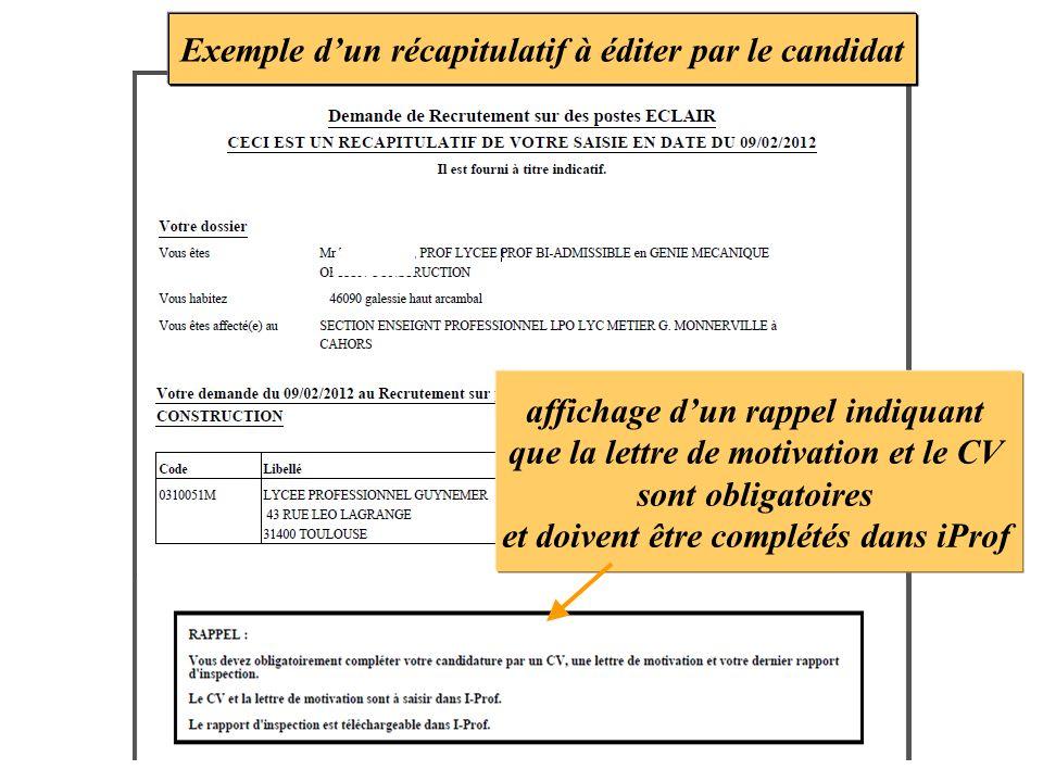 Exemple d'un récapitulatif à éditer par le candidat
