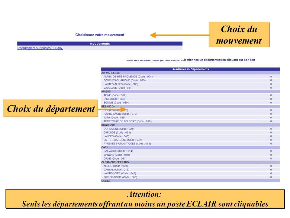 Choix du mouvement Choix du département