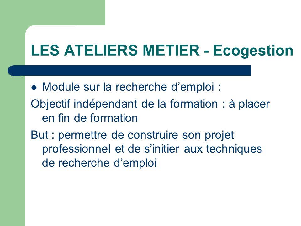 LES ATELIERS METIER - Ecogestion