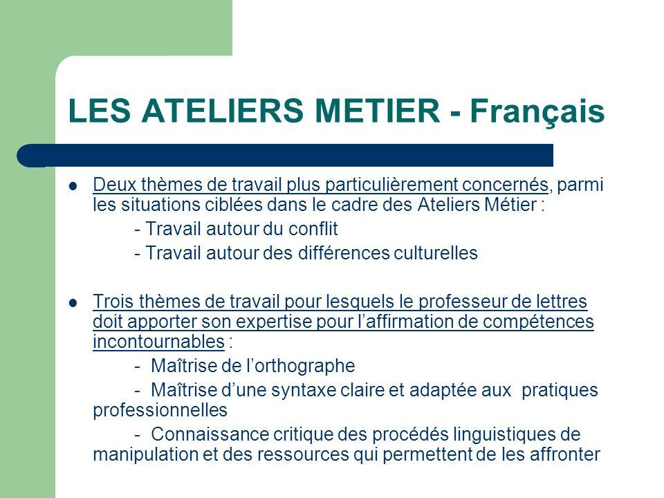 LES ATELIERS METIER - Français