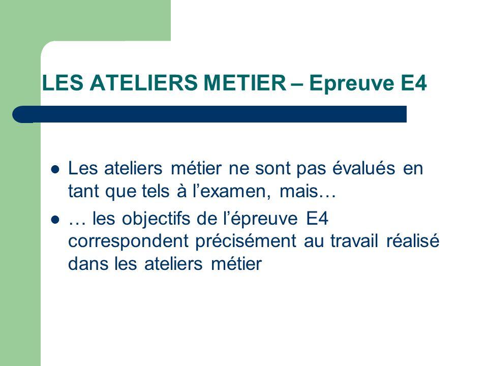 LES ATELIERS METIER – Epreuve E4