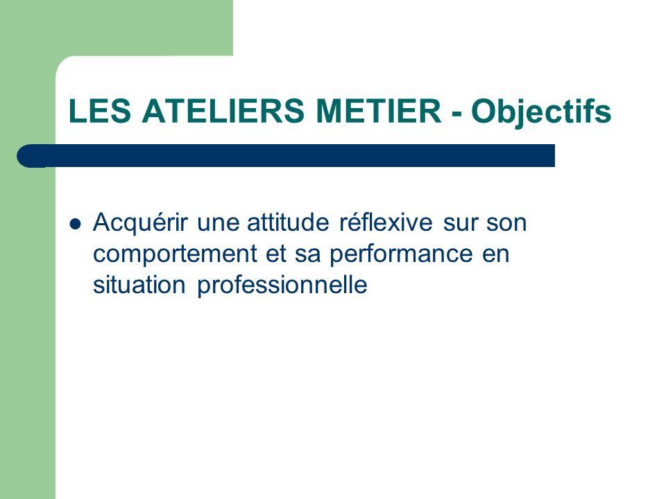LES ATELIERS METIER - Objectifs