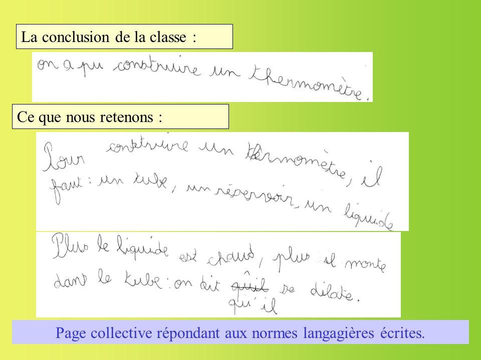 Page collective répondant aux normes langagières écrites.