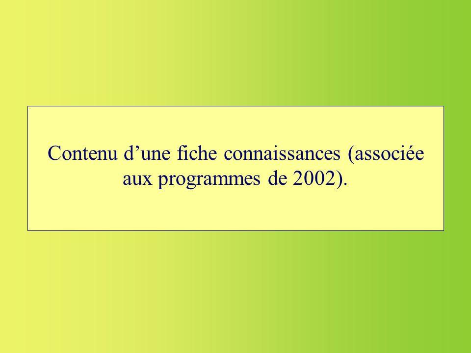 Contenu d'une fiche connaissances (associée aux programmes de 2002).