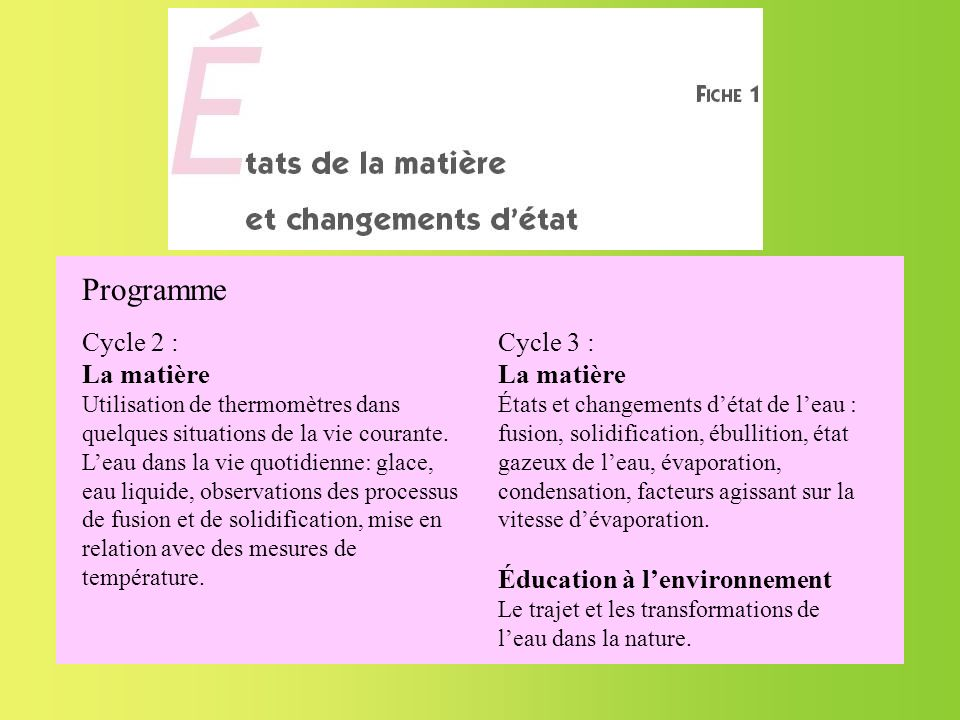 Programme Cycle 2 : La matière Cycle 3 : La matière