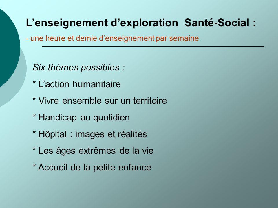L'enseignement d'exploration Santé-Social :