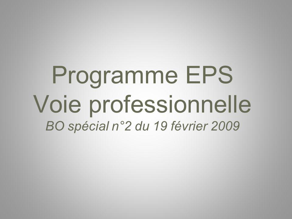 Programme EPS Voie professionnelle BO spécial n°2 du 19 février 2009