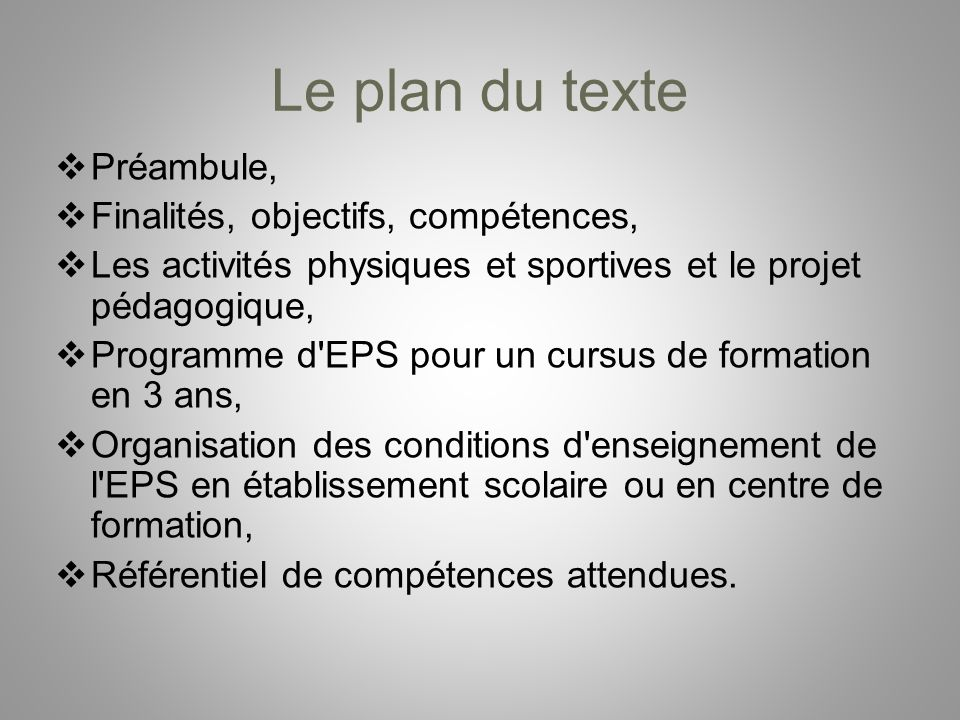 Le plan du texte Préambule, Finalités, objectifs, compétences,