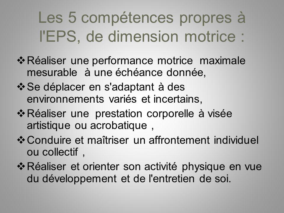 Les 5 compétences propres à l EPS, de dimension motrice :