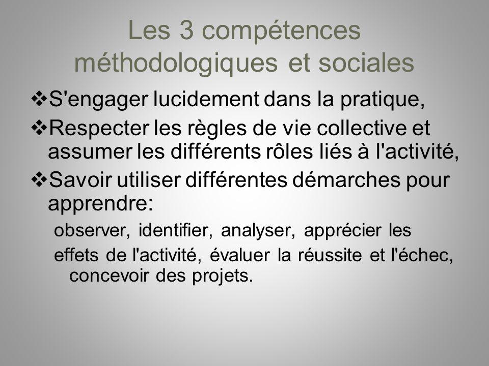 Les 3 compétences méthodologiques et sociales