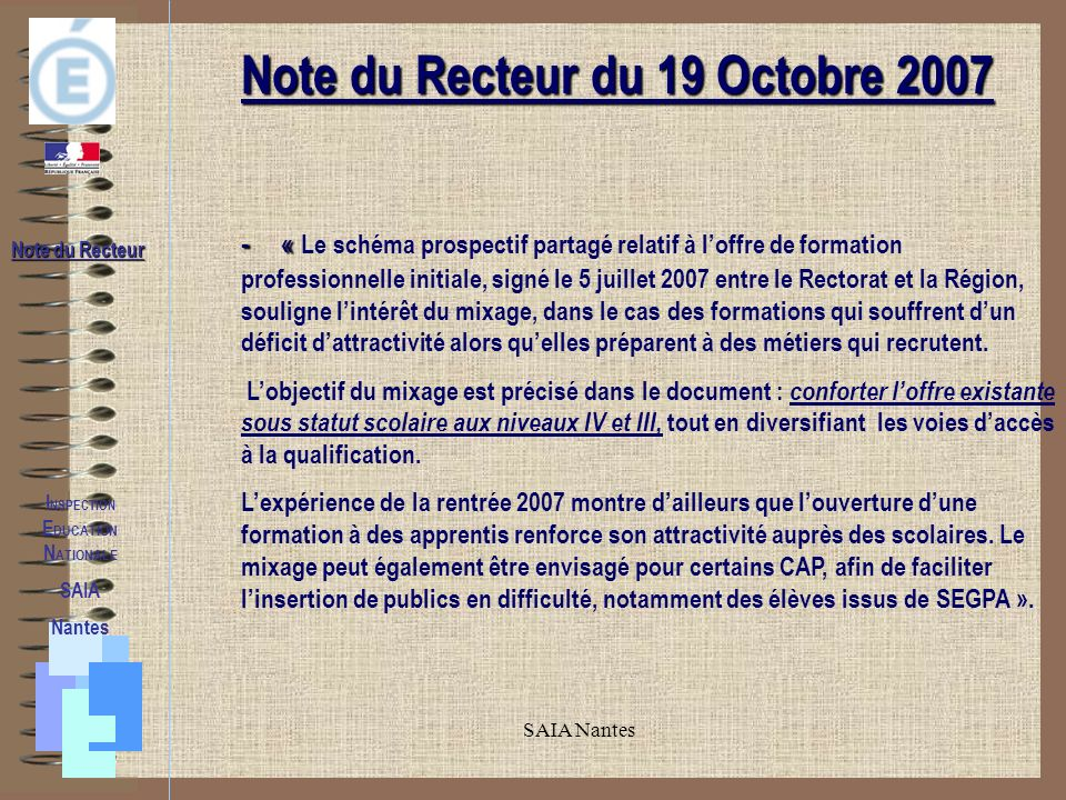 Note du Recteur du 19 Octobre 2007 INSPECTION EDUCATION NATIONALE