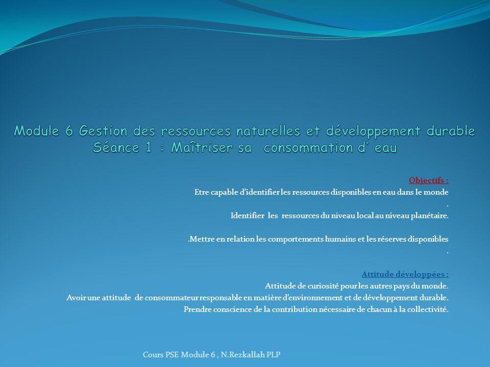 Module 6 Gestion des ressources naturelles et développement durable Séance 1 : Maîtriser sa consommation d' eau