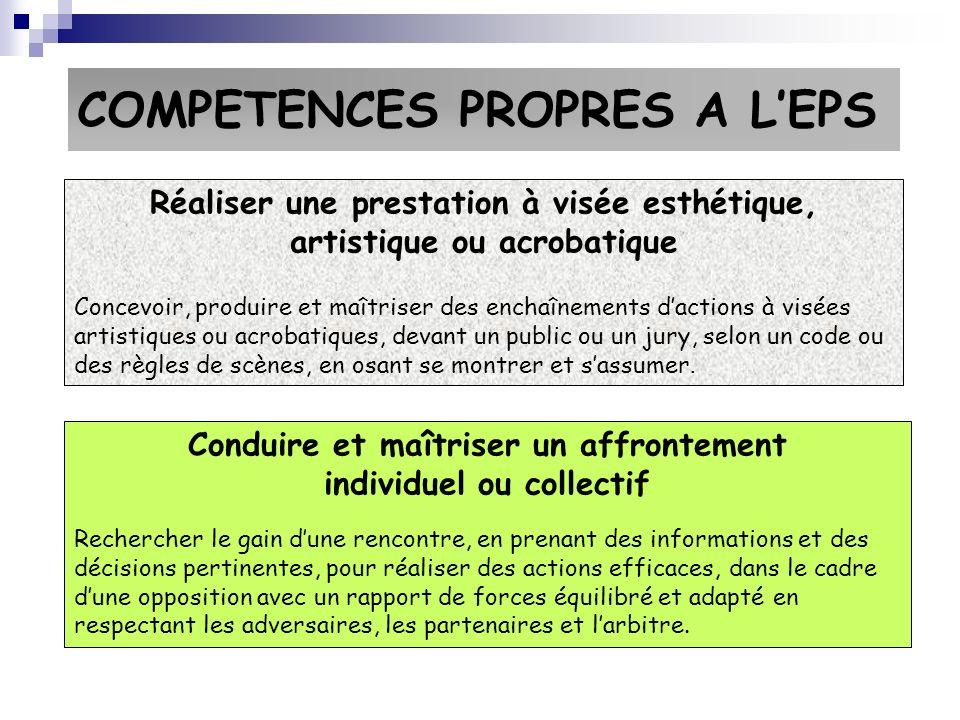 COMPETENCES PROPRES A L'EPS