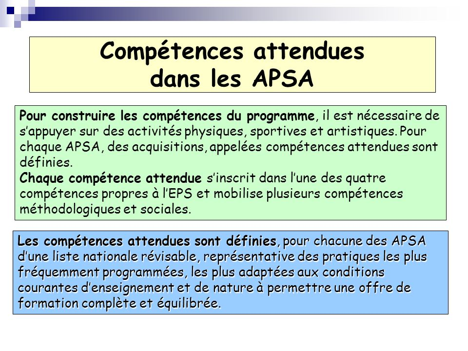 Compétences attendues dans les APSA