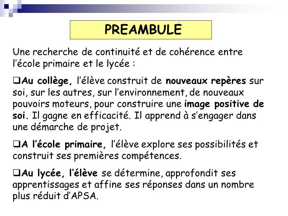 PREAMBULE Une recherche de continuité et de cohérence entre l'école primaire et le lycée :