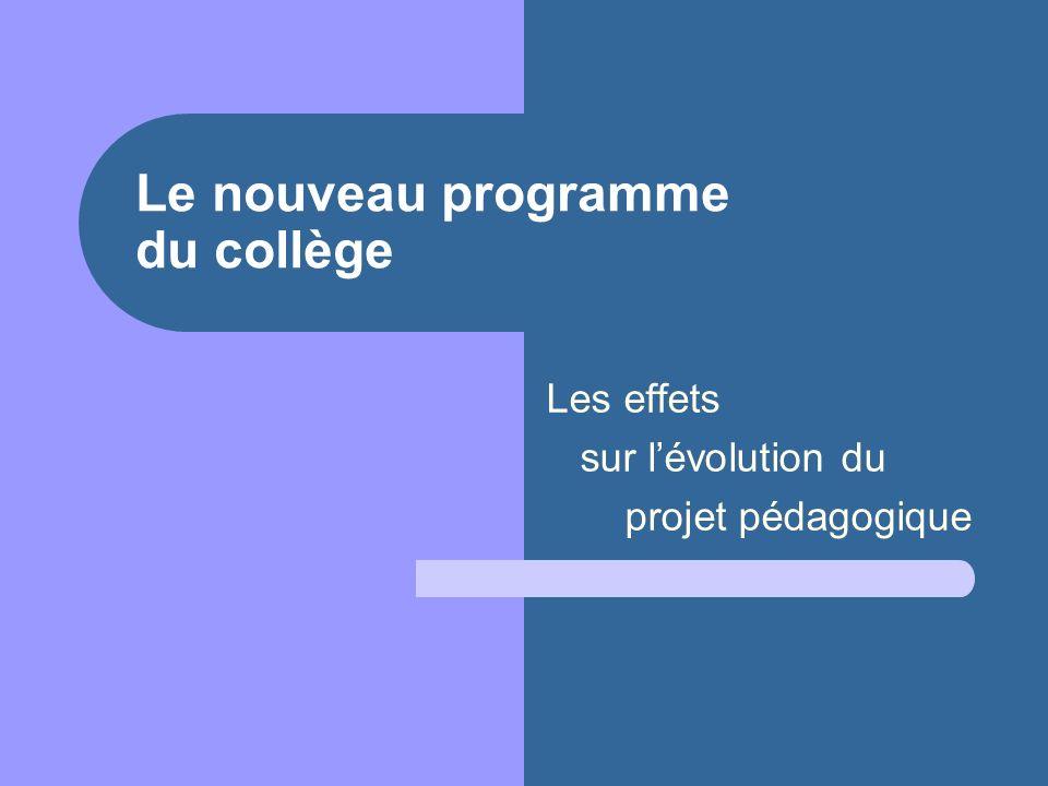 Le nouveau programme du collège