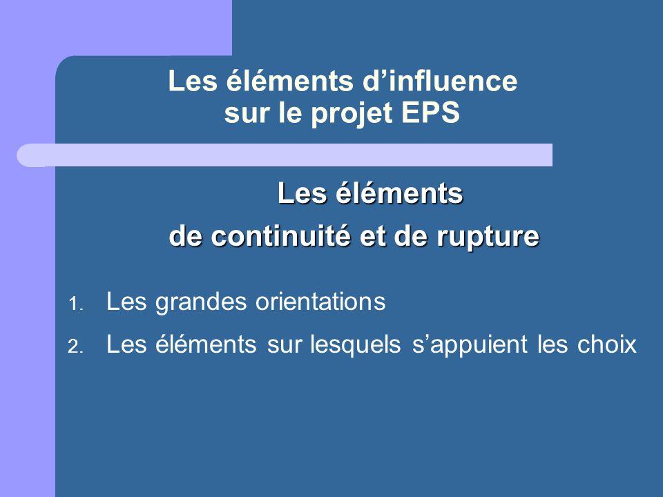 Les éléments d'influence sur le projet EPS