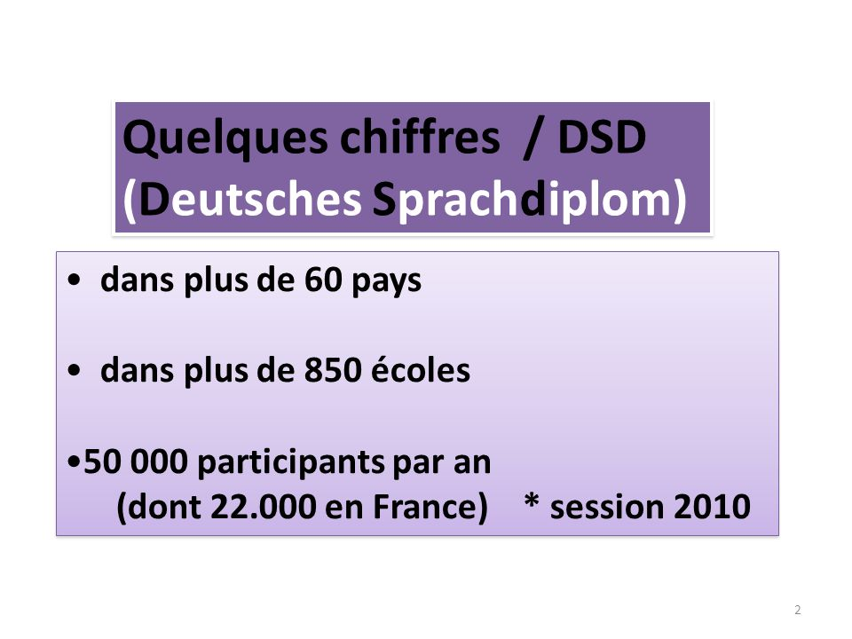 Quelques chiffres / DSD (Deutsches Sprachdiplom)