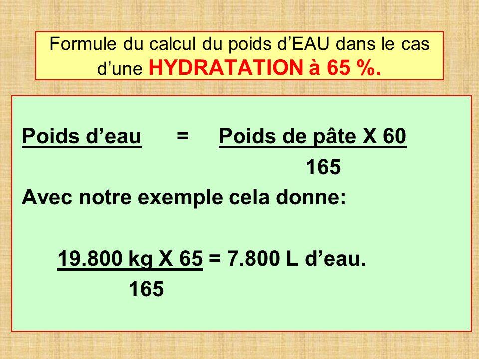 Formule du calcul du poids d'EAU dans le cas d'une HYDRATATION à 65 %.