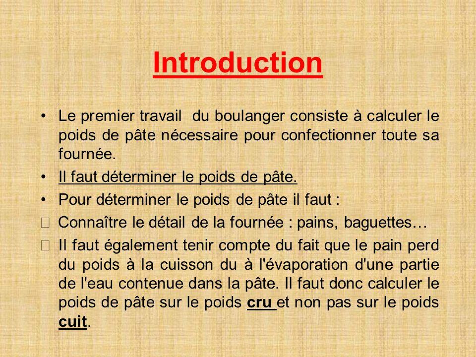 Introduction Le premier travail du boulanger consiste à calculer le poids de pâte nécessaire pour confectionner toute sa fournée.
