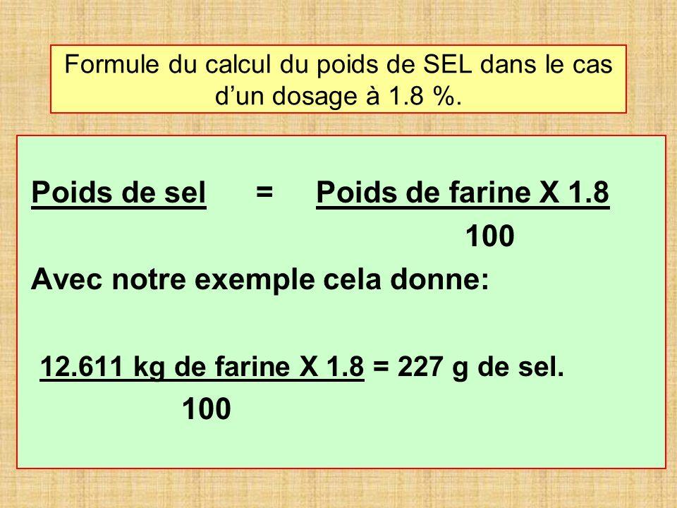 Formule du calcul du poids de SEL dans le cas d'un dosage à 1.8 %.