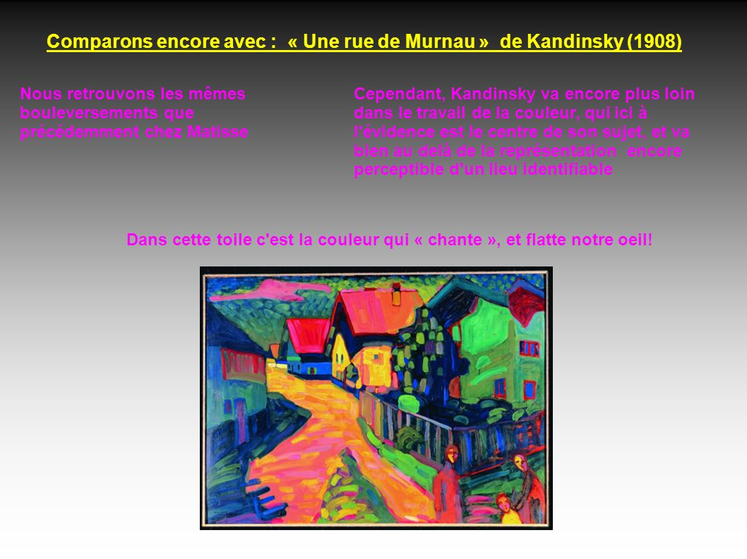 Comparons encore avec : « Une rue de Murnau » de Kandinsky (1908)