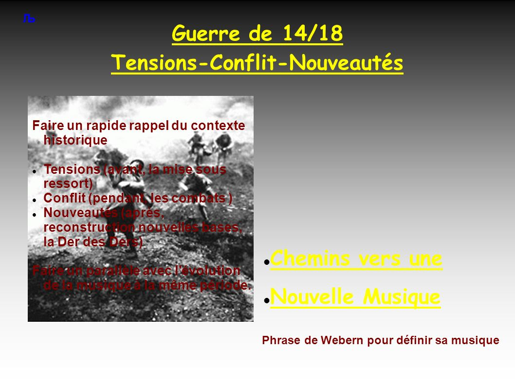Guerre de 14/18 Tensions-Conflit-Nouveautés