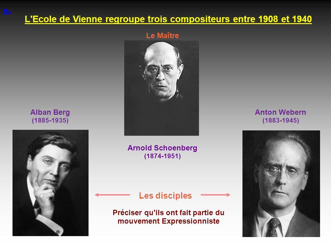 L Ecole de Vienne regroupe trois compositeurs entre 1908 et 1940