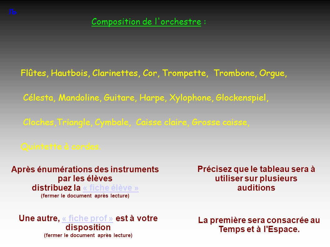 Composition de l orchestre :