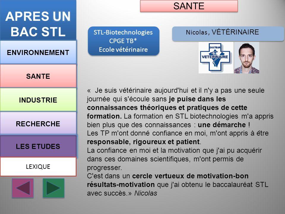 APRES UN BAC STL SANTE STL-Biotechnologies Nicolas , vétérinaire