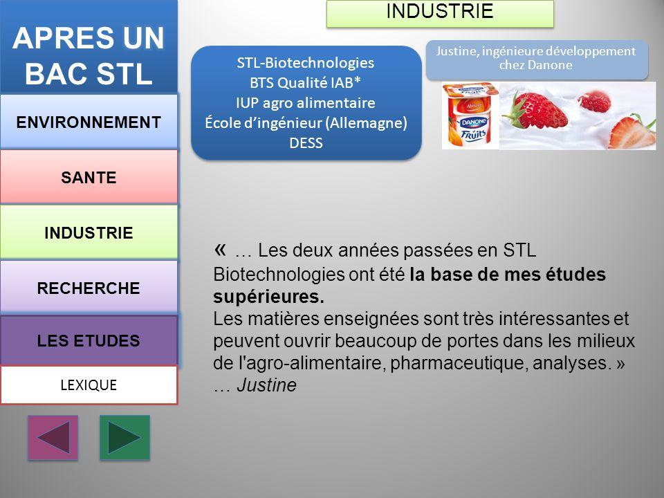 APRES UN BAC STL INDUSTRIE. Justine, ingénieure développement chez Danone. STL-Biotechnologies. BTS Qualité IAB*