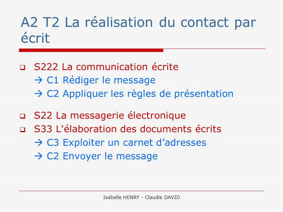 A2 T2 La réalisation du contact par écrit