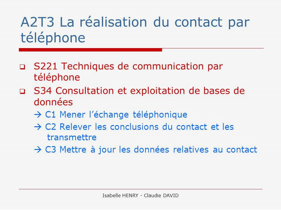 A2T3 La réalisation du contact par téléphone